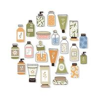 Pattern with organic cosmetics. A set of bottles and tubes, jars vector