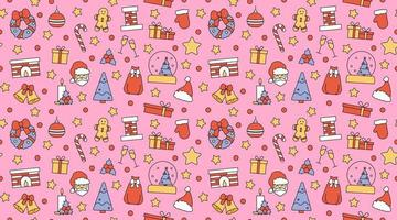 Seamless repeating pattern with Christmas and Happy New Year symbols vector