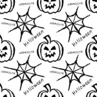 halloween seamless pattern with pumpkin and spider web vector