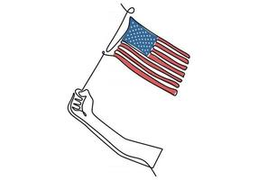 One continuous single line drawing of hand holding American flag vector
