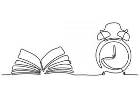 Single continuous line drawing of an open book beside a cup of coffee vector