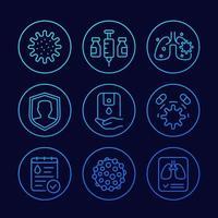 virus, covid 19 and pneumonia line icons set vector