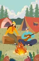 Happy Couple Enjoying Summer Camp vector