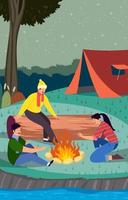 Happy Friends Camping Together vector