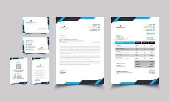 Modern blue professional business stationery set vector