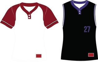 Two Button Softball Pullover Jersey Set Sleeves vector