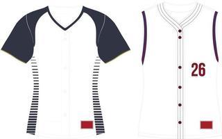 Full Button Softball  Jersey Set Sleeves vector