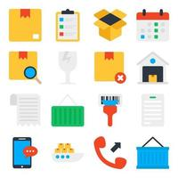 Pack of Logistic Flat Icons vector
