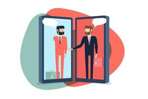 Businessmen handshake on mobile, Online Communication Concept. vector