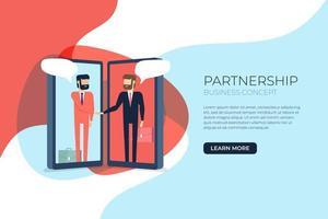 Businessmen handshake on mobile. vector