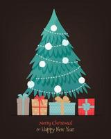 Christmas tree with presents.  Cute vector illustration in flat style
