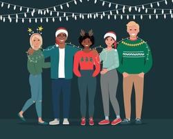 Group of young people celebrate Christmas or New Year together. vector