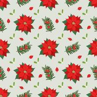 Christmas seamless pattern with Poinsettia, Mistletoe, Yew plants vector
