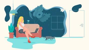 A woman in the room is sitting on the sofa and communicating vector