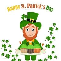 Cartoon leprechaun with cupcakes. Illustration for St. Patrick's Day vector