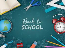 Back to school poster with realistic supplies and chalk doodles vector