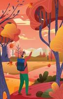 Man Hiking Alone in the Forest vector