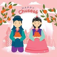 Happy Chuseok, Korean Holiday Harvest Festival vector