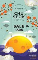 Chuseok Modern Sale Poster vector