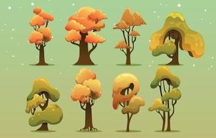Set of Various Autumn Trees vector