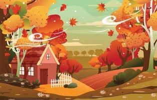Beautiful Scenery when Autumn Comes vector