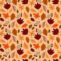 Seamless pattern with autumn leaves hand drawn in childish style vector