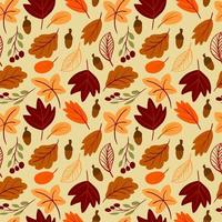 Seamless pattern with autumn leaves hand drawn simple childish style vector