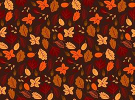 Seamless pattern with autumn leaves, flat style on black background. vector