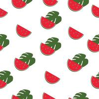 watermelon seamless pattern with tropical leaf vector