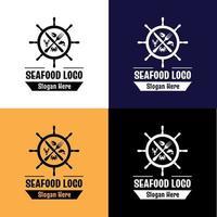 Seafood logos collection vector