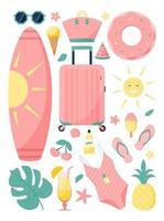 Summer set. Beach items. Vacation. vector
