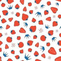 Pattern with strawberry. Yummy strawberries. Crown vector