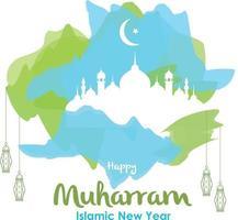 Happy muharram and Islamic new year vector