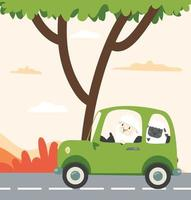 white little sheep and black sheep driving car  Flat styled vector
