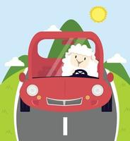 white little sheep driving car background vector