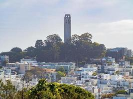 Skyline of San Francisco with Coit Tower, California, USA photo