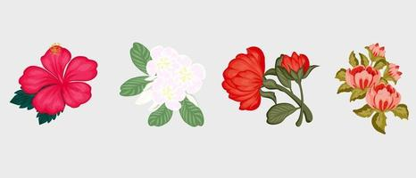 Vector set of flowers,design for greetings card,textile,wallpapers