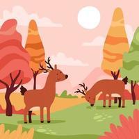 Animals Autumn Landscape vector