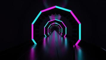 Representación 3d túnel de neón oscuro luminoso azul rosa abstracto luz led foto