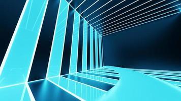 Representación 3D, líneas abstractas de neón azul foto