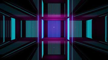 Representación 3D, líneas abstractas de neón rosa azul foto