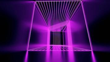 Representación 3D, líneas abstractas de neón rosa foto