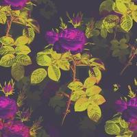Purple Rose Flower Foliage Pattern vector
