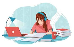 Young Girl Studying at Her Room Concept vector