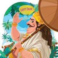 Happy Onam Concept with Mahabali Character vector
