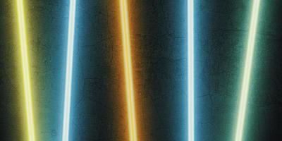 multi color laser light shining on a black stone background photo