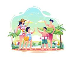 Happy family having fun on the beach during summer illustration vector