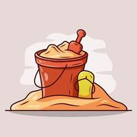Bucket and sand with slipper in beach vector cartoon illustration