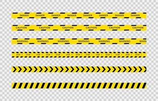 cintas de precaución negras y amarillas. juego de rayas de línea de cinta de advertencia. vector. vector
