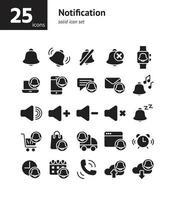 Notification solid icon set. vector